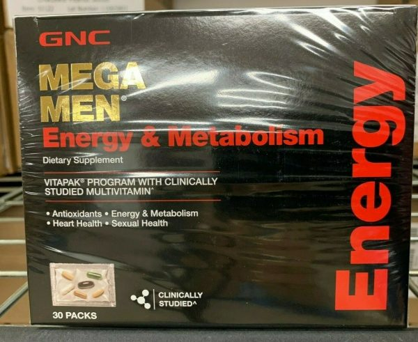 GNC Mega Men Energy & Metabolism Vitapak Program 30 Packs Fast FREE Shipping
