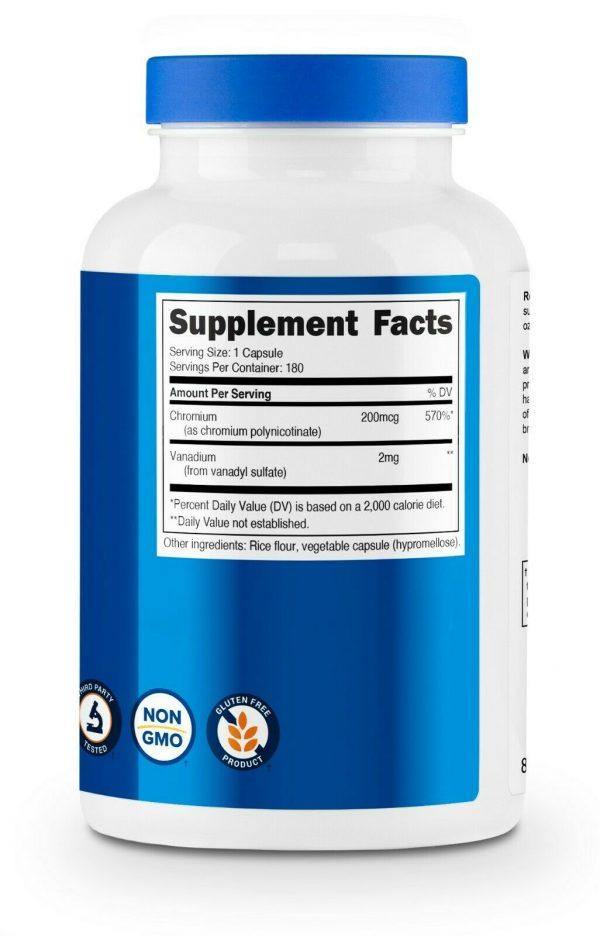 Nutricost Vanadium + Chromium 2mg 180 Vegetarian Capsules 5