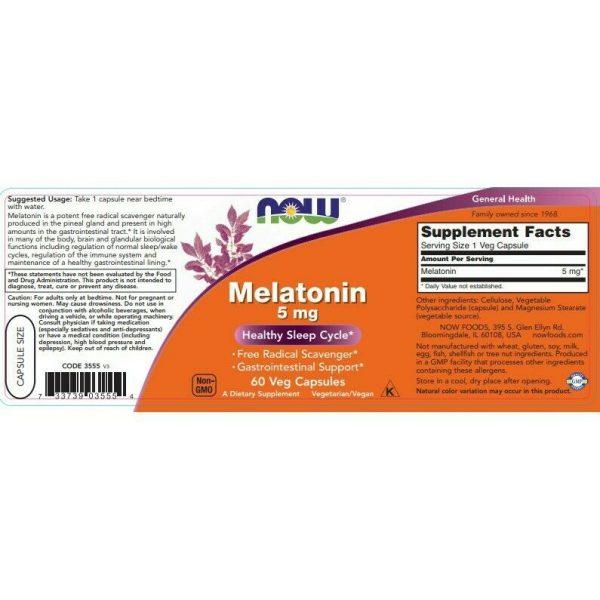 MELATONIN 5 mg (60 vege caps) Healthy Sleep Cycle / NOW FOODS 1
