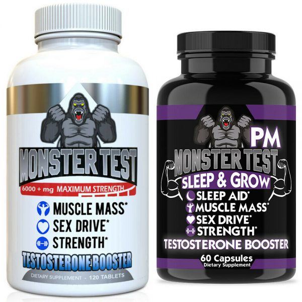 Testosterone Booster Monster Test with Tribulus for Men + Monster Test PM 2 Pack 1