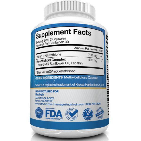 Nutrivein Liposomal Glutathione Setria 700mg - 60 Capsules - Master Liver Detox  4