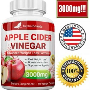 Herbal Beauty APPLE CIDER VINEGAR Pills 3000mg PURE WEIGHT LOSS 60 CAPSULES USA