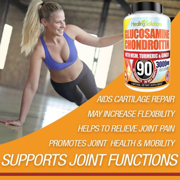 Glucosamine Chondroitin with COLLAGEN TYPE II 2 MSM Turmeric Ginger 3000MG 90ct 6