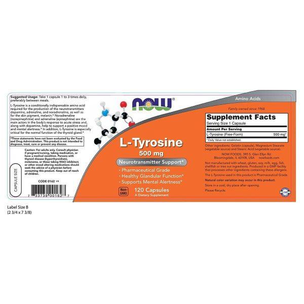 NOW L-Tyrosine 500 mg 120 Caps,Neurotransmitter Support,USP Phamaceutical Grade 1