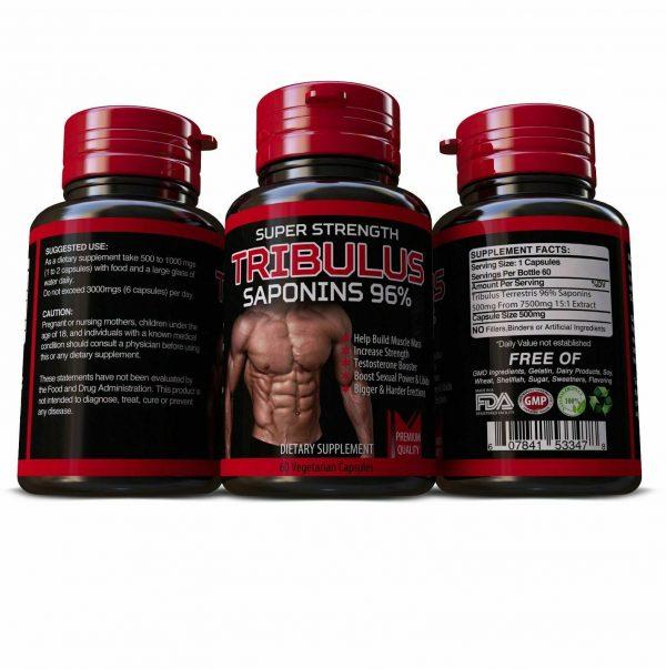 TRIBULUS TERRESTRIS 7500mg EXTRACT 96% SAPONINS BIG MUSCLE BODYBUILDING PILLS 1