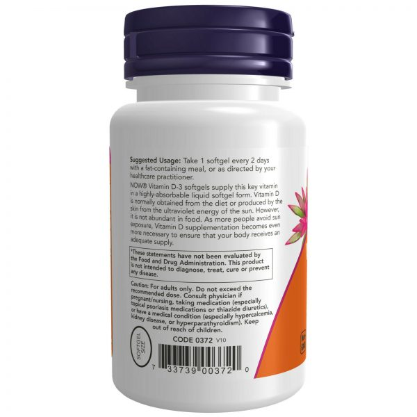 NOW High Potency Vitamin D-3 5000 IU 120 Softgels Structural Support Made In USA 2