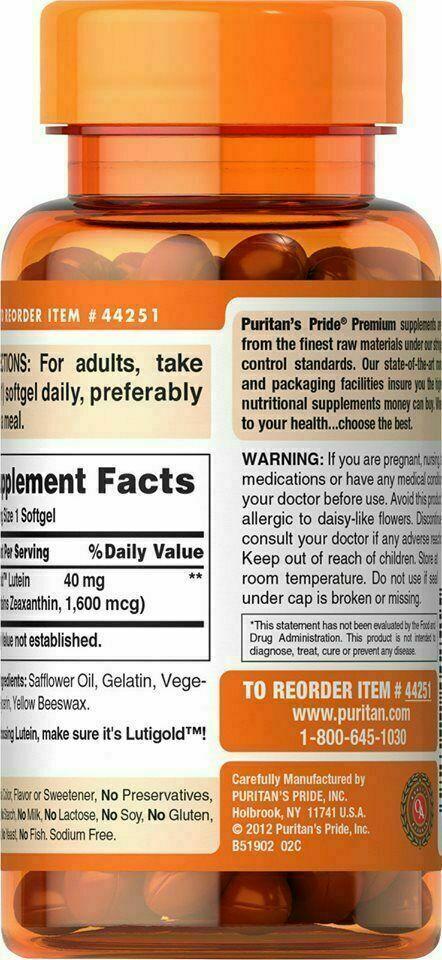 3 X Puritan's Pride Lutein 40 mg Zeaxanthin 1600 mcg 60 Softgels 2