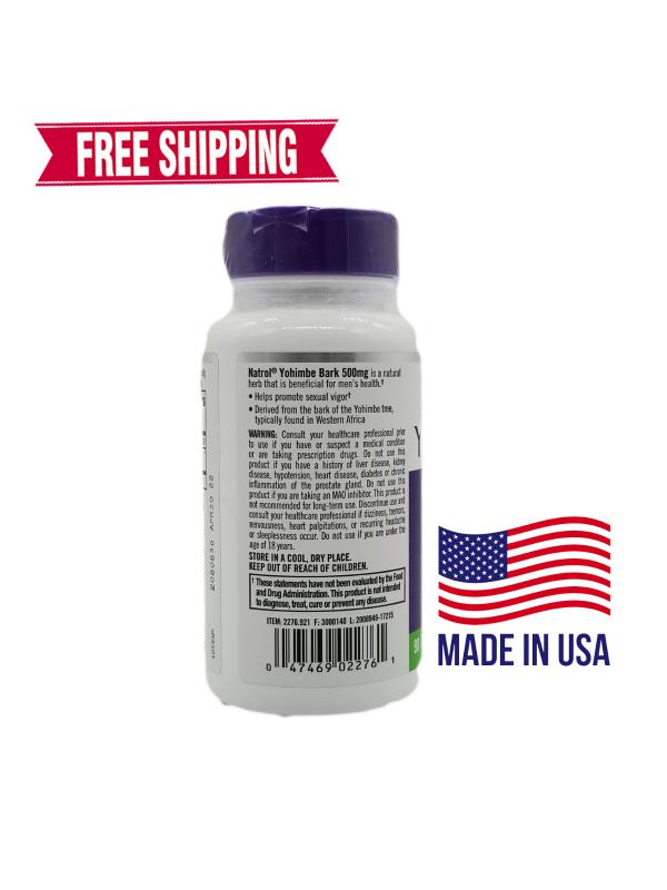 Natrol Yohimbe Bark Mens Health 500 mg 90 Capsules FREE Shipping 1