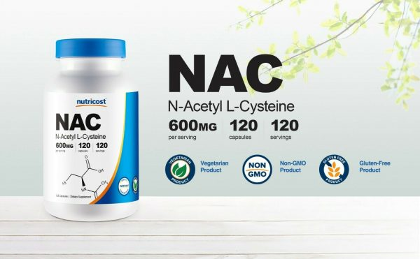Nutricost N-Acetyl L-Cysteine (NAC) 600mg, 120 Vegetarian Capsules - Non-GMO 3
