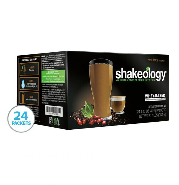 Café Latte Whey Shakeology 24 single -sever packets new date