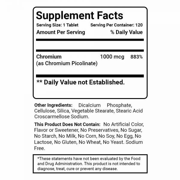 Best Naturals Chromium Picolinate 1000 mcg 120 Tablets 1