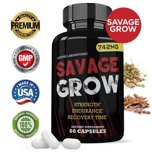 Savage Grow Natural Male Enhancement Increase Strength Stamina Energy 60 Caps