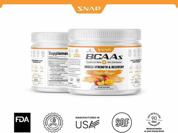 BCAA Powder Peach Mango Nitric Oxide Pre Workout & Muscle Strength - 30 Servings 4