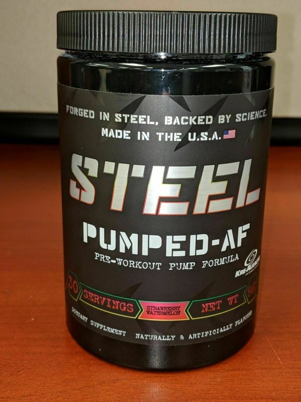 Steel Supplements Pumped-AF / Pre-Workout / Pump / CLUMPY Strawberry Watermelon