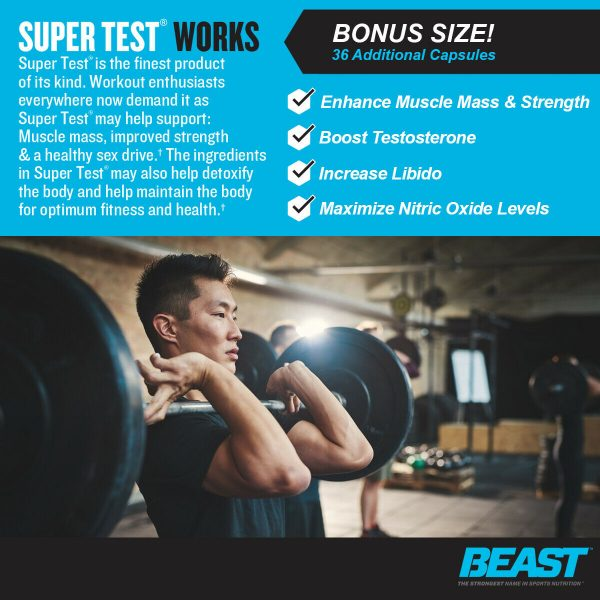 Beast Sports Super Test 216 ct: The Ultimate Testosterone Booster: Best by 4/21 1
