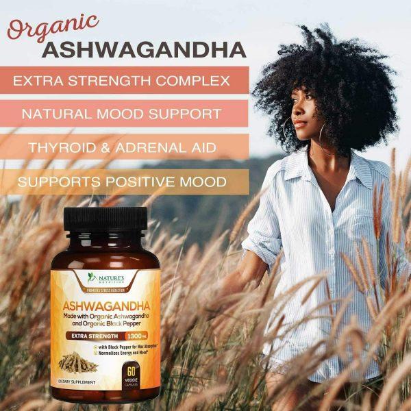 Organic Ashwagandha Capsules High Potency Supplement w/ Black Pepper Root Powder 3
