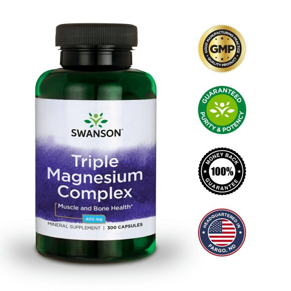 Swanson Triple Magnesium Complex Capsules, 400 mg, 300 Count 6