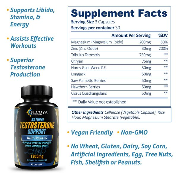 Natural Testosterone Booster - Increase Energy Improve Muscle Strength & Growth 2