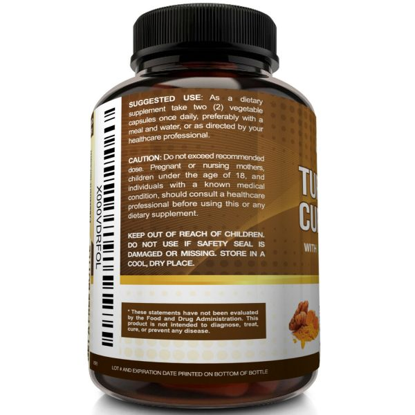☀ Turmeric Curcumin with BioPerine Black Pepper 95% Curcuminoids 1300mg 120 caps 5