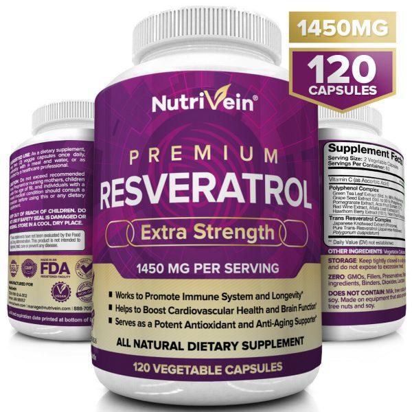 Nutrivein Resveratrol 1450mg - 120 Capsules - Anti-Aging Antioxidant Supplement