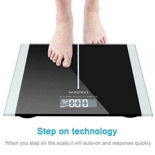 400lb Digital Body Weight Scale Bathroom Fitness Backlit LCD 180kg + 2 Battery 2
