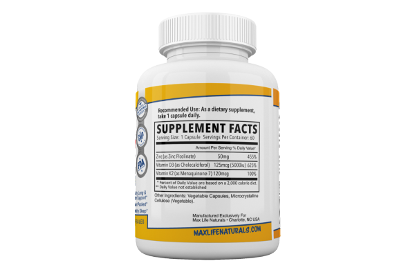 Zinc Picolinate 50 mg + Vitamin K2 (MK7) + Vitamin D3 Zinc Picolinate Supplemens 4