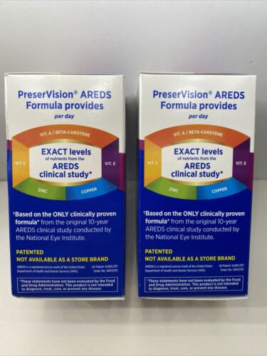 Lot Of 2 BAUSCH +LOMB PRESERVISION EYE VITAMIN & MINERAL AREDS 120 Cts 05/2022 3