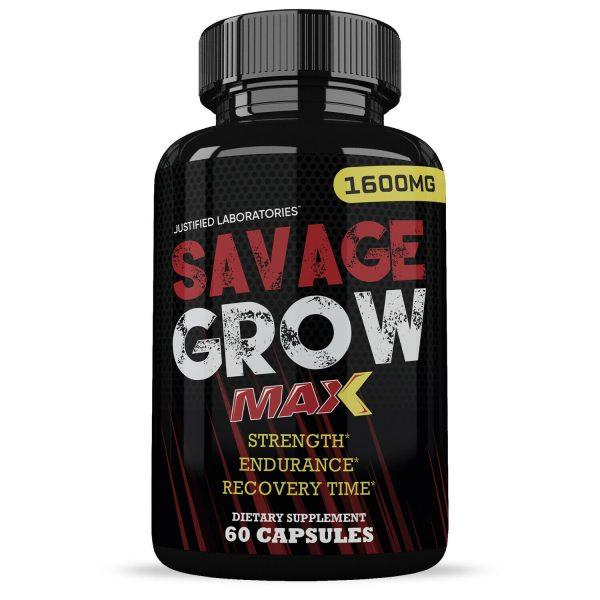 Savage Grow Max 1600MG Male Enhancement Increase Strength Stamina Energy 60 Caps 1