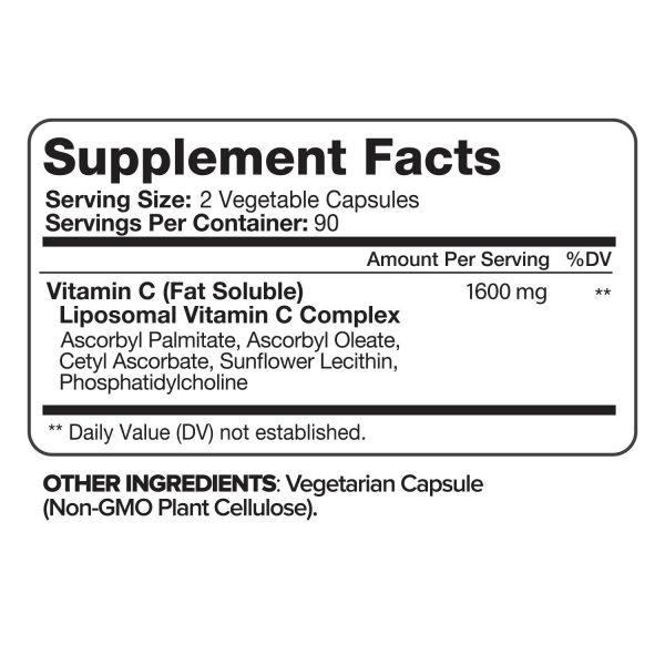 Nutrivein Liposomal Vitamin C 1600mg -180 Capsules - High Absorption Supplements 2