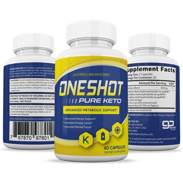 One Shot Pure Keto Pills Weight Loss Diet Pills BHB Ketogenic Supplement 2 Pack 4