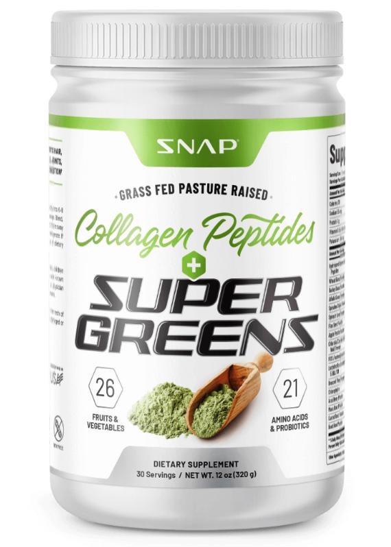 Organic Super Greens Collagen Peptides Powder - Green Juice Superfood - 12 oz
