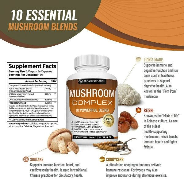 Mushroom Complex Supplement (2 Pack) +10 Mushrooms Lions Mane Reishi Pills 6