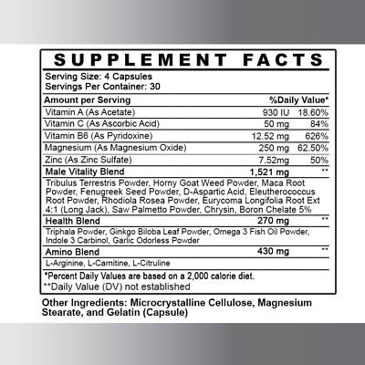 Monster Test Men's Testosterone Booster, Fat Burner Weight Loss Diet Pills 3PK 4
