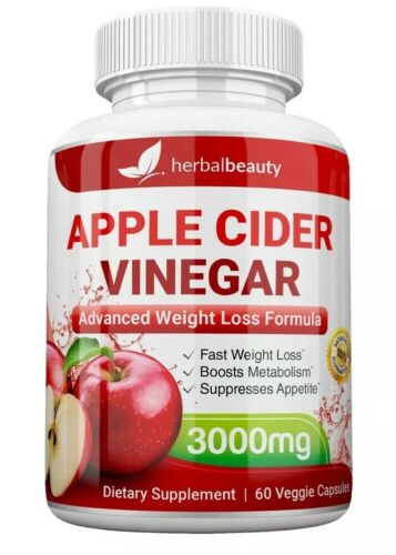 3 x Herbal Beauty APPLE CIDER VINEGAR Pills 3000mg WEIGHT LOSS 180 CAPSULES USA 5