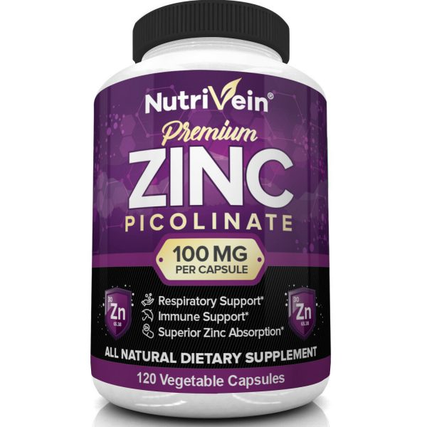Nutrivein Zinc Picolinate 100mg - 120 Capsules - Immunity Defense Max Strength 3