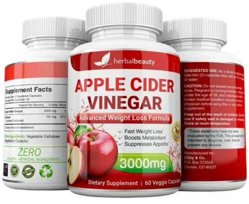 3 x Herbal Beauty APPLE CIDER VINEGAR Pills 3000mg WEIGHT LOSS 180 CAPSULES USA 4