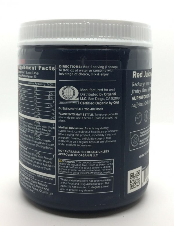 Organifi Red Juice Superfood Powder Acai & Cordyceps Infused Dietary Supplement 2