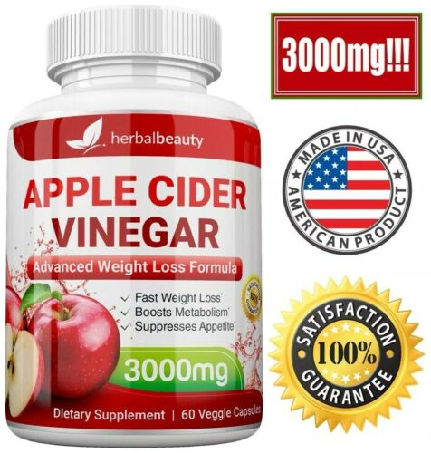 Herbal Beauty APPLE CIDER VINEGAR Pills 3000mg PURE WEIGHT LOSS 60 CAPSULES USA 5