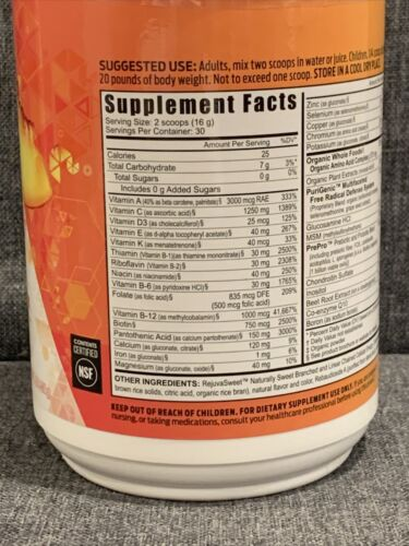 Youngevity Beyond Tangy Tangerine 2.0 Citrus Peach Fusion 30 Serving  1Lb 2