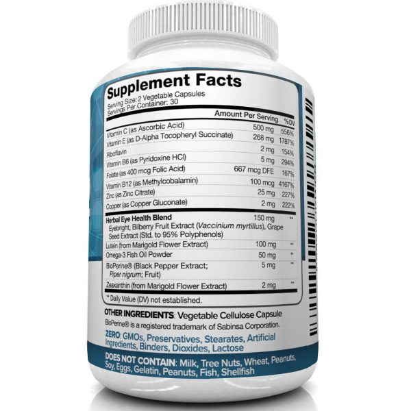 Nutrivein AREDS 2 Eye Vitamins - Supports Eye Strain Dry Eyes - Eye Health Boost 4