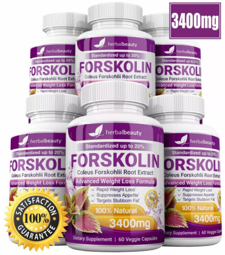 6 x Herbal Beauty FORSKOLIN 3400mg Maximum Strength RAPID RESULTS Pure Extract 9