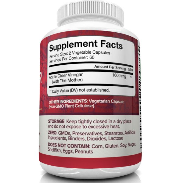 Nutrivein Apple Cider Vinegar Capsules with Mother 1600mg - 120 Pills - Detox  6