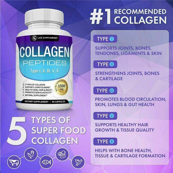 Premium Collagen Peptides 90 CAPSULES Hydrolyzed Anti-Aging (Types I,II,III,V,X) 2