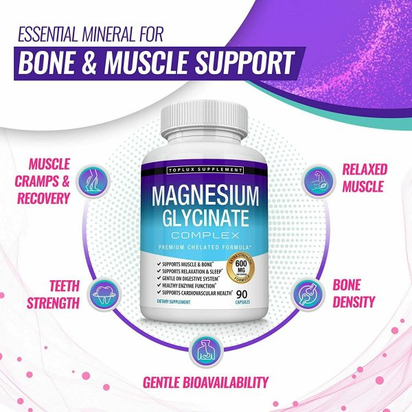 Magnesium Glycinate 525 MG Complex 90 Capsules125% DV High Absorption Magnesium  3