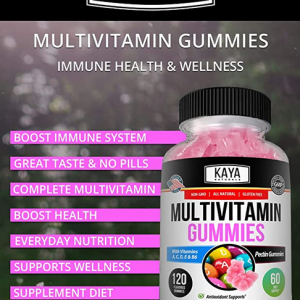 Multi Vitamin Gummy, 60 Count, Biotin, Vitamin A, C & E, Zinc & Vitamin B-12 5