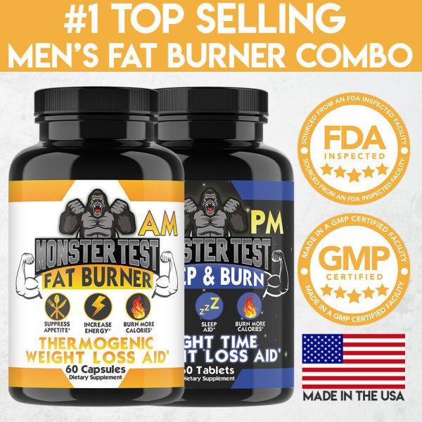 Monster Test Men's Fat Burner AM Day + PM Night Weight Loss Diet Pill Combo 2-PK