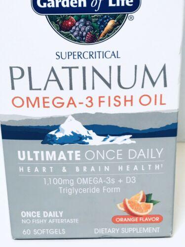 Garden of life Platinum Omega‑3 Fish Oil Orange Flavor 60 Ct Exp 2021+ 1812 6
