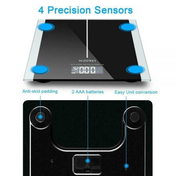 400lb Digital Body Weight Scale Bathroom Fitness Backlit LCD 180kg + 2 Battery 4