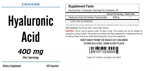 Hyaluronic Acid High Potency 400mg Serving 120 Capsules FREE USA SHIPPING CH 1