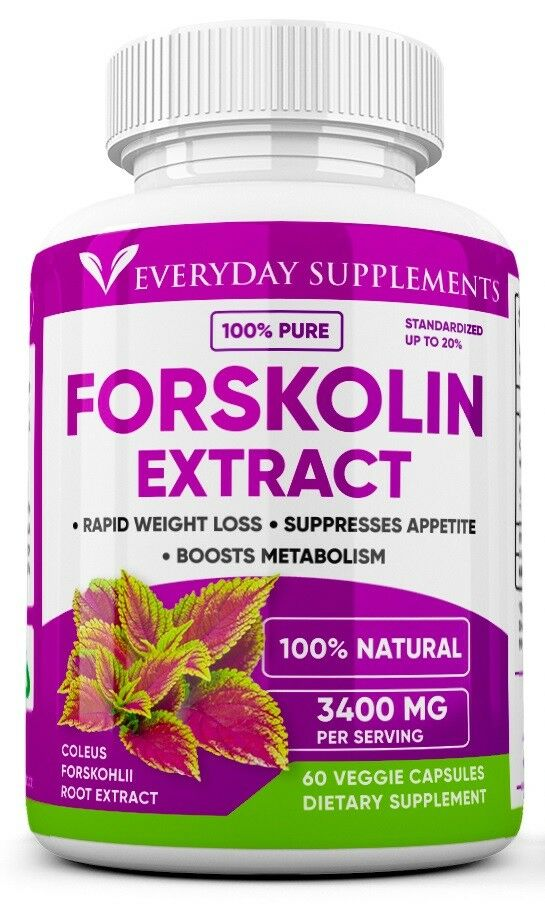3 x Forskolin Maximum Strength 100% Pure 3400mg Rapid Results Forskolin Extract 1
